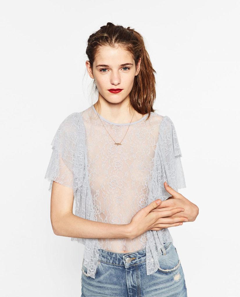 Top de encaje de Zara   Madrid a tu estilo